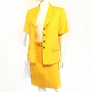 VTG 80s bright lemon yellow vintage skirt suit set